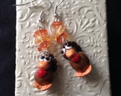 Handmade Polymer Clay Turkey Earrings