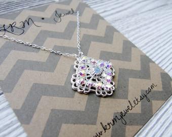 CLEARANCE Swarovski Crystal Rhinestone Necklace Silver Holiday Winter Christmas Gift Simple Minimalist Vintage Bridal Bridesmaid Wedding
