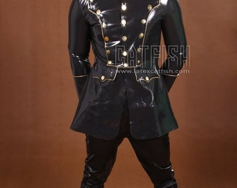 High Rank Army Jacket / Fashion Latex Men Clothing Rubber Uniform Latex Jacket