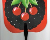 Vintage Mary Engelbreit Very Cherry Plastic Hand Fan - Rare and Hard to Find