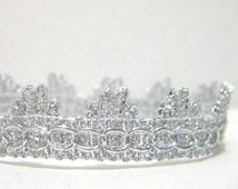 Newborn  Lace Crown Photo Prop, Lace Silver Beaded Newborn Crown, Baby Photo Prop, Newborn Prince Crown, Photography Prop READY TO SHIP