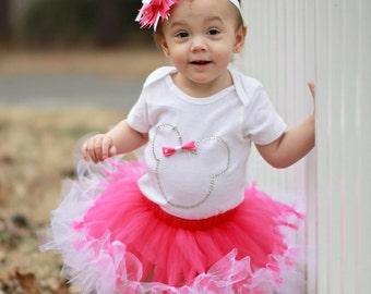 Minnie Mouse Tutu, Minnie Mouse Outfit, Minnie Mouse Birthday, Minnie Mouse, 1st Birthday Outfit, Hot Pink and White Tutu, Petti Tutu, Tutu