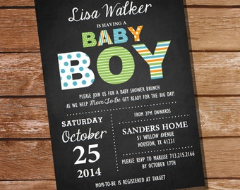Chalkboard Baby Boy Shower Invitation - Boy Baby Shower - Instantly Downloadable and Editable File - Personalize at home with Adobe Reader