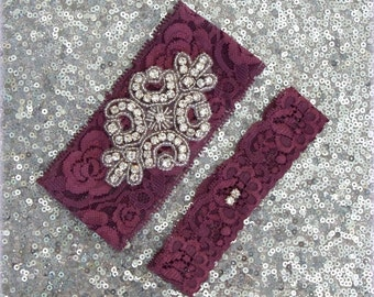 Wedding Garter Set - BURGUNDY Lace SILVER Rhinestone Crest Show & Dual Stud Toss - other COLORS available