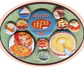 "11 Classic Pie MIXED SIZE set 1"" inch buttons AND 2.25 aka 2 1/4 inch Dessert button set"