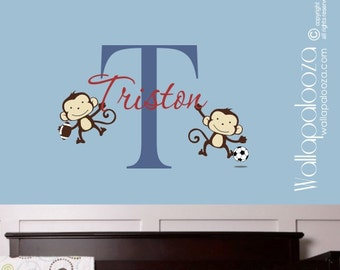 Monkey Wall Decal  Sports Wall Decal  Monkey Wall Art  Nursery Wall Decor  Boys Name Wall Decal  Boy's Wall Art  Wall Decal  Monkeys