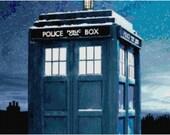 Doctor Who Snowy Tardis Cross Stitch Pattern