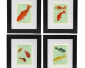 Goldfish Print Set, Goldfish Posters,  Art Prints, Gold Fish, Marine Life Art, Fish Wall Art, Chinese Feng Shui Symbols, Wall Decor, Giclee
