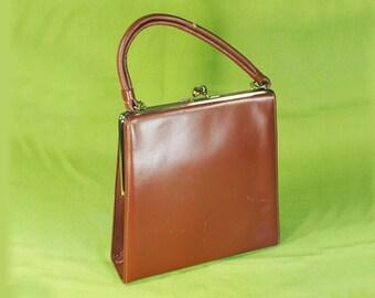 Vintage 60's THEODOR CALIFORNIA Brown Leather Handbag Purse