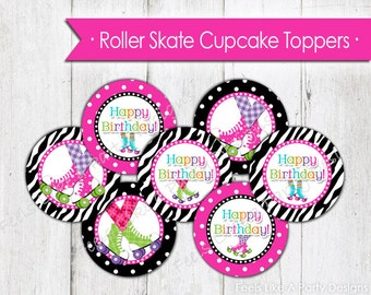Pink Roller Skating Cupcake Toppers - Instant Download
