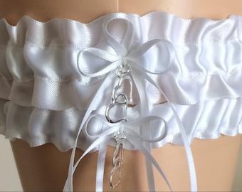 White Wedding Garter Set, Bridal Garter Sets, Keepsake Garter,