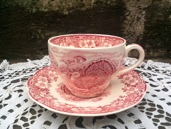 Wedgwood Turkey Tea Cup and Saucer Set, Red Transferware, Thanksgiving, Tableware, Serving, Holiday, See Details Below