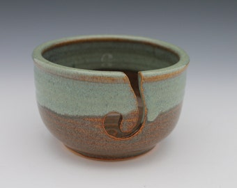 Yarn Bowl chocolate brown green gray knitting crochet pottery earth tones