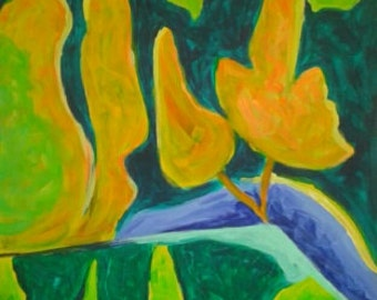 Acryl painting on canvas 30 x40 cm. A yellow trees. Abstract.