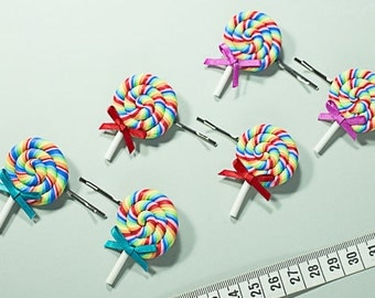 Rainbow Lollipop Hair Pin