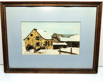 Framed Quebec Watercolor Winter Scene Vintage Painting French Country Marieville Farmhouse
