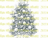 Christmas Tree with Candles and Angel Digital Stamp Instant Download