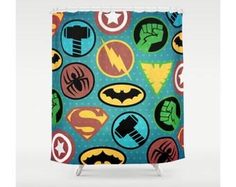 Superhero Shower Curtain, Superheroes Shower Curtain, Bathroom Decor,  Colorful, Superhero Logos,