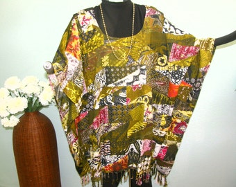 Green Gold Patchwork Tunic, Top or Dress for Plus Size or XL - Cloth printed in patchwork design - Very vintage cloth look