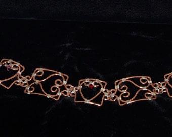 Copper hearts wire wrapped filigree bracelet