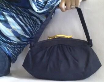 vintage 1940s frame purse / navy blue fabric purse with top handle / small fabric handbag / 40's vintage handbag