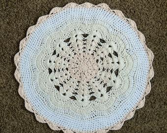 Ombre Crochet Nursery Rug, Playroom Rug, Area Rug, Nursery Decor, Doily Rug, Round Rug, Peach, Cream, White  Photo Prop