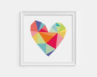 Geometric heart print - 8X8 printable art - colorful wall décor - thoughtful gift idea