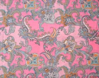 "55"" Wide Polished /  Glazed Cotton Fabric - Paisley Dress Fabric by Yard"