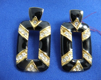 Black Lacquer Rectangular Drops with Gold & Rhinestone Detail