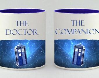 Valentine's Day  Gift Mug Set, Doctor Who Inspired Coffee Mug Set, Coffee Cup, Doctor Who Gift, The Doctor , The Companion, Mug, Mugs