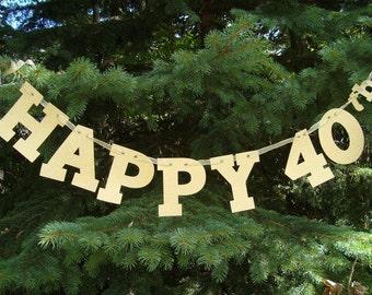 40th Birthday Banner, Happy 40th Banner, Happy 40th Anniversary Banner, 40th Birthday Decoration, 40 Glitter Banner, 40th Milestone Birthday