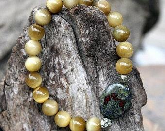 Beautiful butter yellow tiger eye gemstone wrist mala bracelet