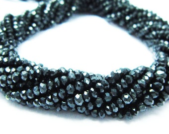 "AAA-Black Spinel Micro Cut Rondelles- 14"" Strand -Stones measure - 3mm"