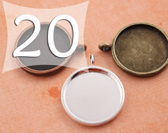 20 mm Circle Pendant Tray Silver, Antique Bronze or Antique Copper for Clear Glass or Resin