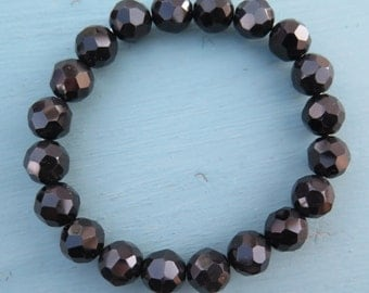 Black - Faceted Glass Beads - Stackable Stretch Bracelet