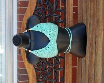 Beaded Ocean Hippie Crochet  Bikini Halter Festival Top