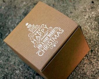 Rustic Christmas Gift Boxes set of 5, 4x4x4 kraft Christmas box, Ornament box, Christmas Gift boxes, rustic christmas, holiday gift box