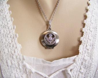 Thistle Locket, Scottish Thistle Locket, Thistle Necklace, Keepsake Locket, Thistle Flower, Celtic Locket, Irish Locket, Scottish Necklace