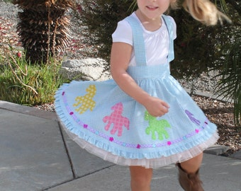 Girls skirt pattern suspender skirt my little pony inspired pdf sewing pattern circle skirt pattern,pony applique skirt, LETS GO to the  HOP
