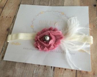 Pink flower headband, baby headband, newborn headband