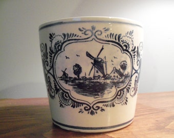 Vintage Delft Blue Windmill Dutch Pottery Planter