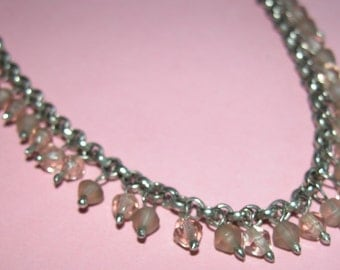 Vintage Palest Pink Cut Glass on silver metal pretty chain.