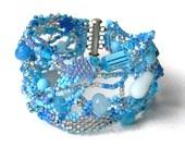 Blue beaded bracelet, beadwoven boho bracelet, blue freeform cuff, seed bead bracelet, beadwork jewelry, blue jewelry, beadwork bracelet,