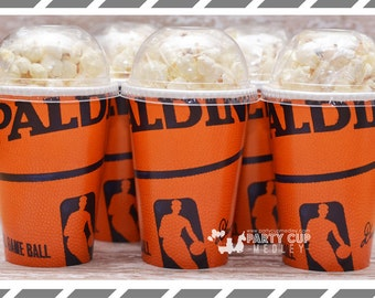 Basketball Party Cups, You Choose Party Cups, Lids and Straws or Favor Cups