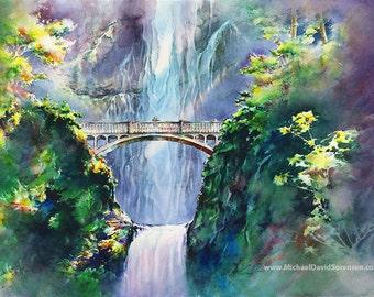 Multnomah Falls Oregon Waterfall Watercolor Art Print. Pacific Northwest Watercolor Paintings. Green. Purple. Couple on Waterfall Bridge