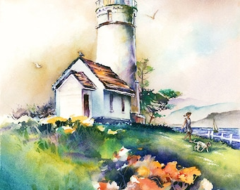 Cape Blanco Light Oregon Coast Lighthouse Watercolor Painting Print. Pacific Northwest Lighthouse Art. Girl and Dog. Green. Blue. Orange.