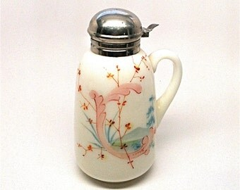 Victorian Milk Glass Painted Syrup Pitcher c1900