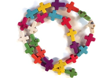 Howlite Cross Beads, Multicolored Cross Beads, 16mm x 12mm Howlite Beads, 1 Strand