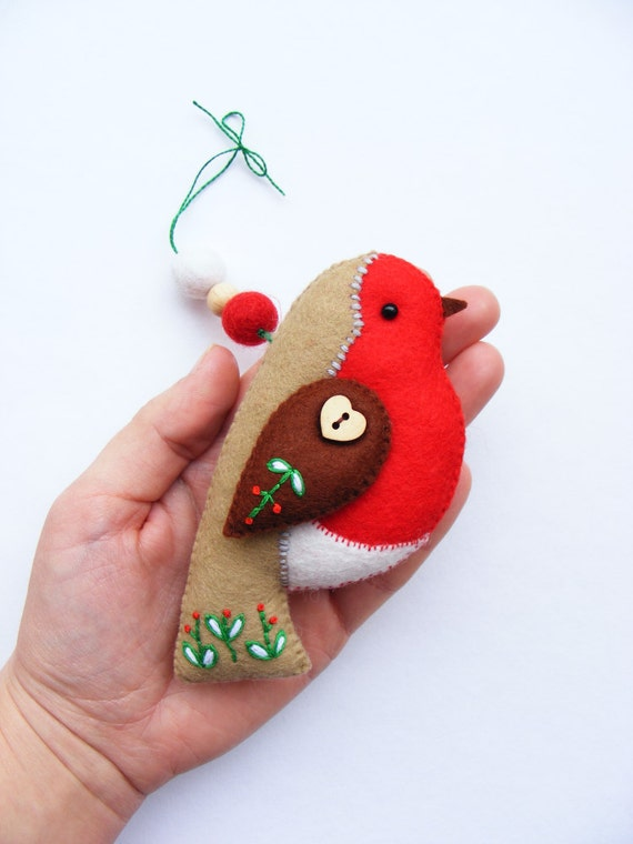 Pdf Pattern Felt Robin With Embroidered Details Christmas