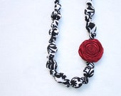 Fabric Statement Necklace,Teething Necklace, Chomping Necklace, Nursing Necklace - Black Damask with Rosette